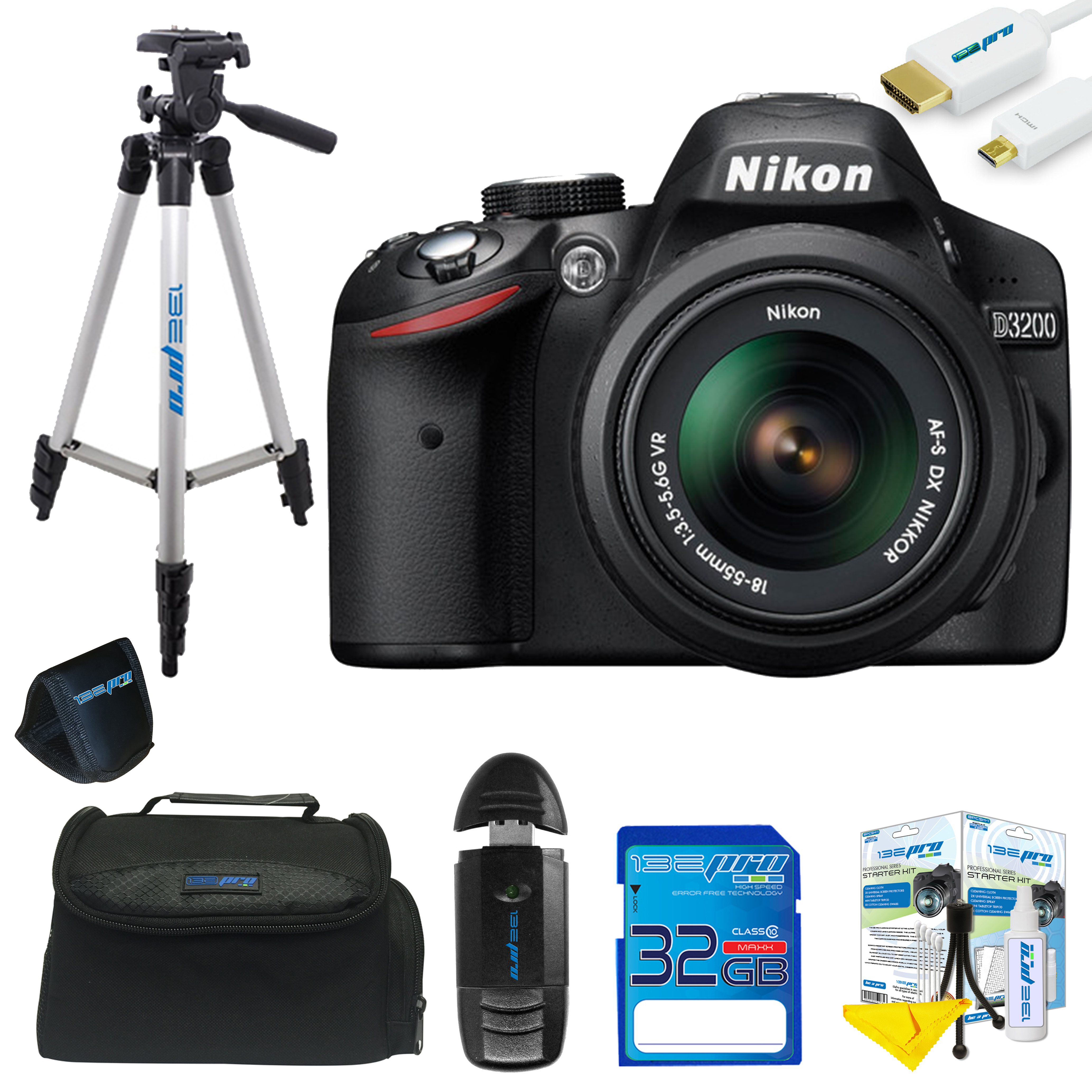 Nikon D3200 DSLR Camera with 18-55mm Lens + Pixi Basic Kit
