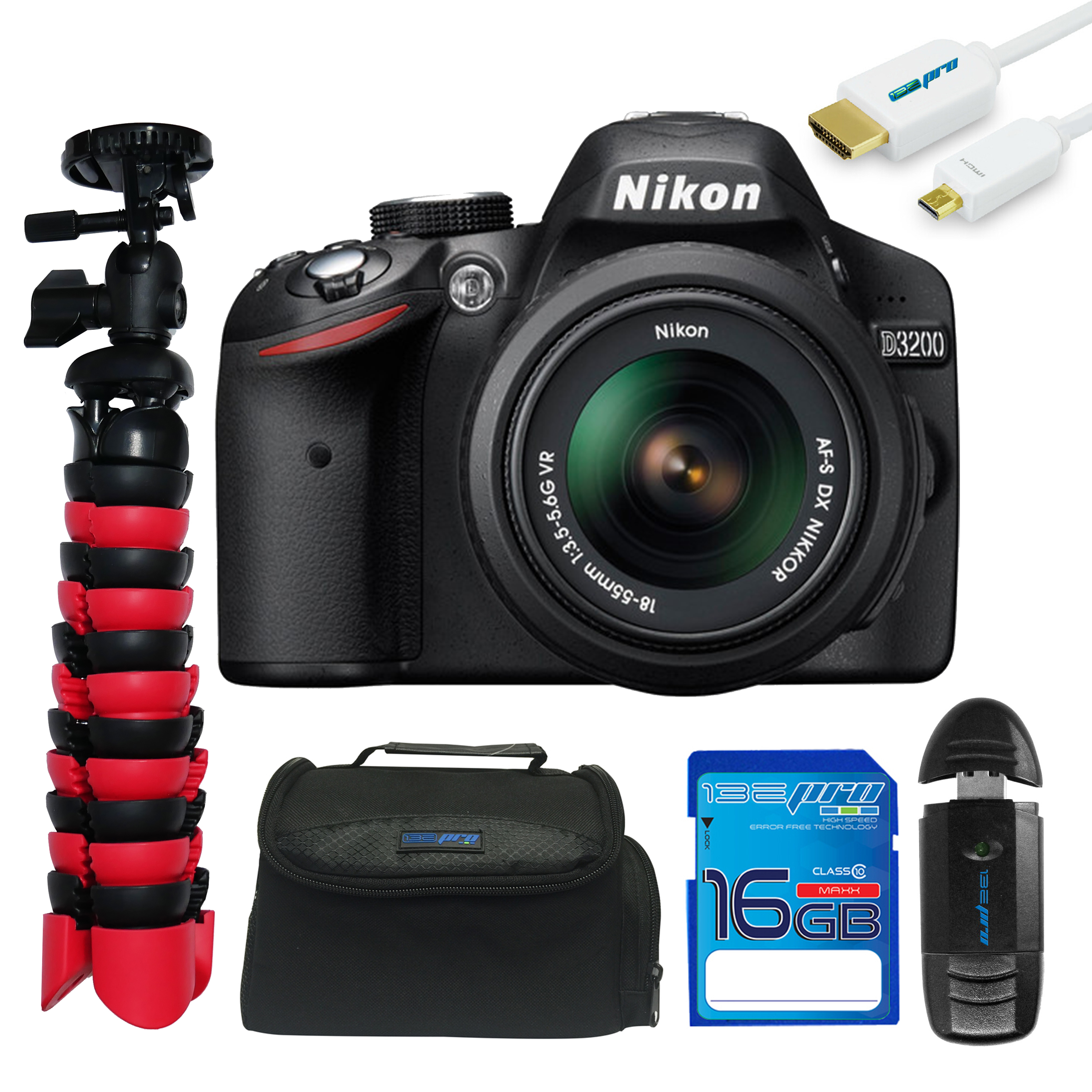 Nikon D3200 DSLR Camera with 18-55mm Lens + Pixi Essentials Kit
