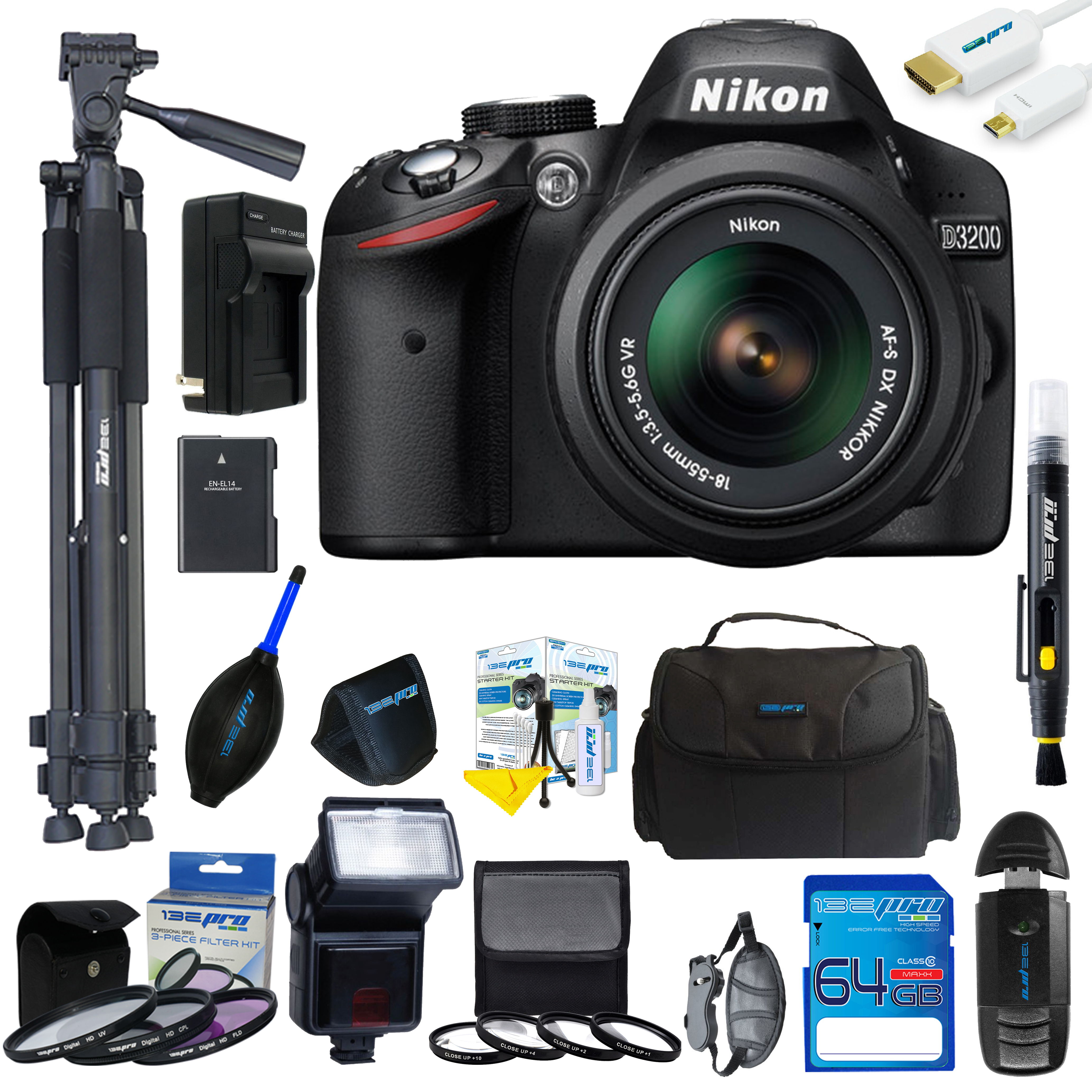 Nikon D3200 DSLR Camera with 18-55mm Lens + Pixi Pro Kit