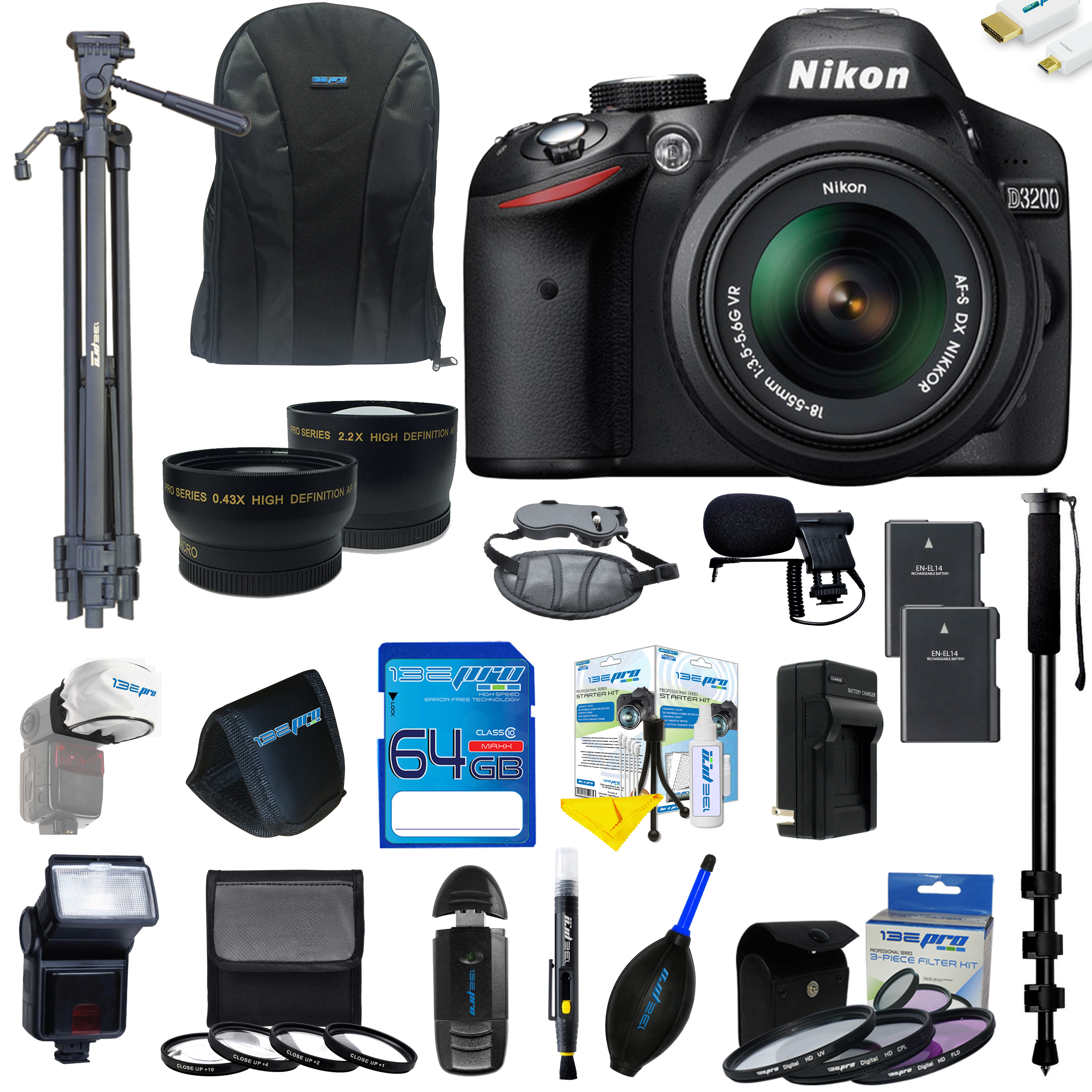 Nikon D3200 DSLR Camera with 18-55mm Lens + Pixi Ultimate Kit