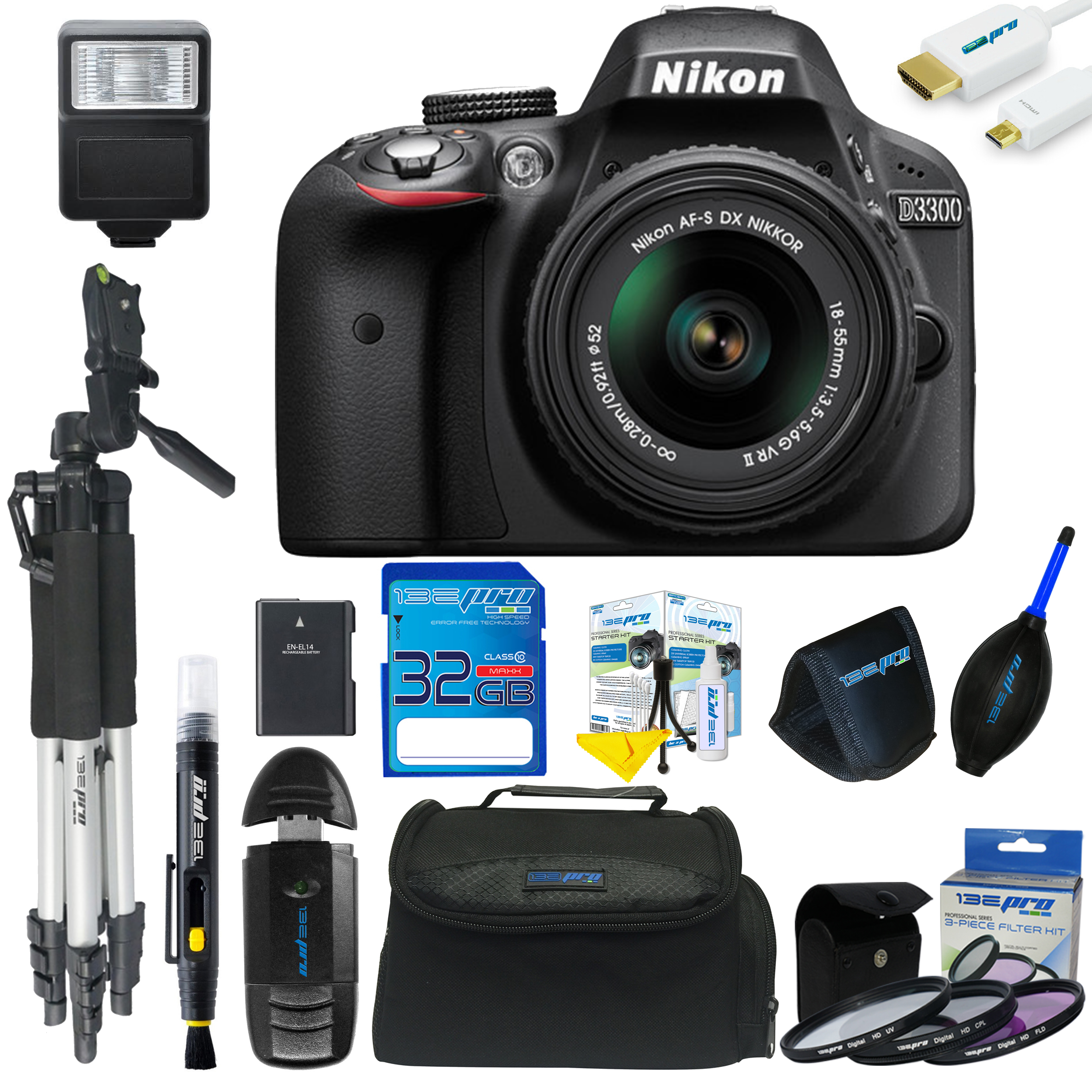 Nikon D3300 DSLR Camera with 18-55mm Lens + Pixi Advanced Kit