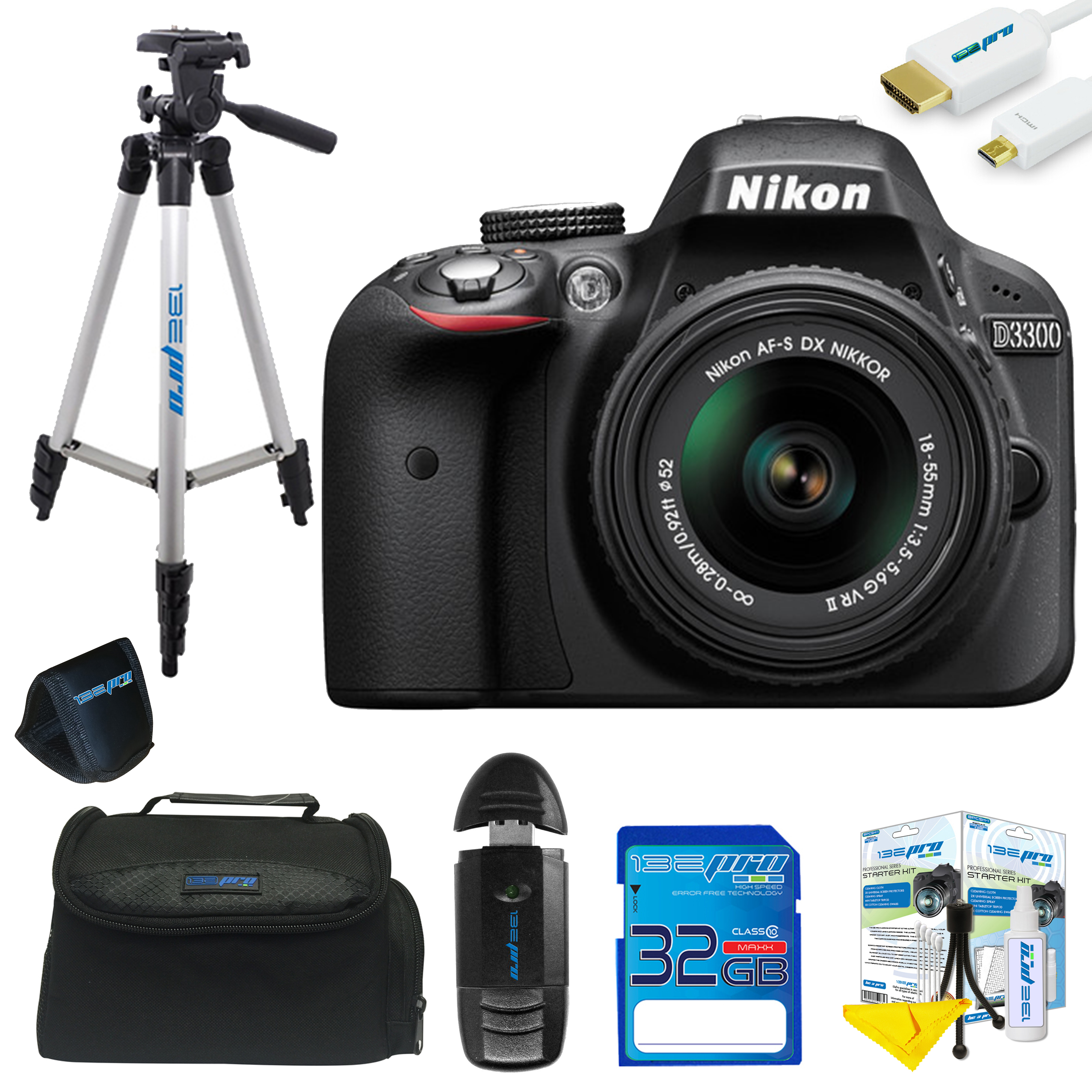 Nikon D3300 DSLR Camera with 18-55mm Lens + Pixi Basic Kit