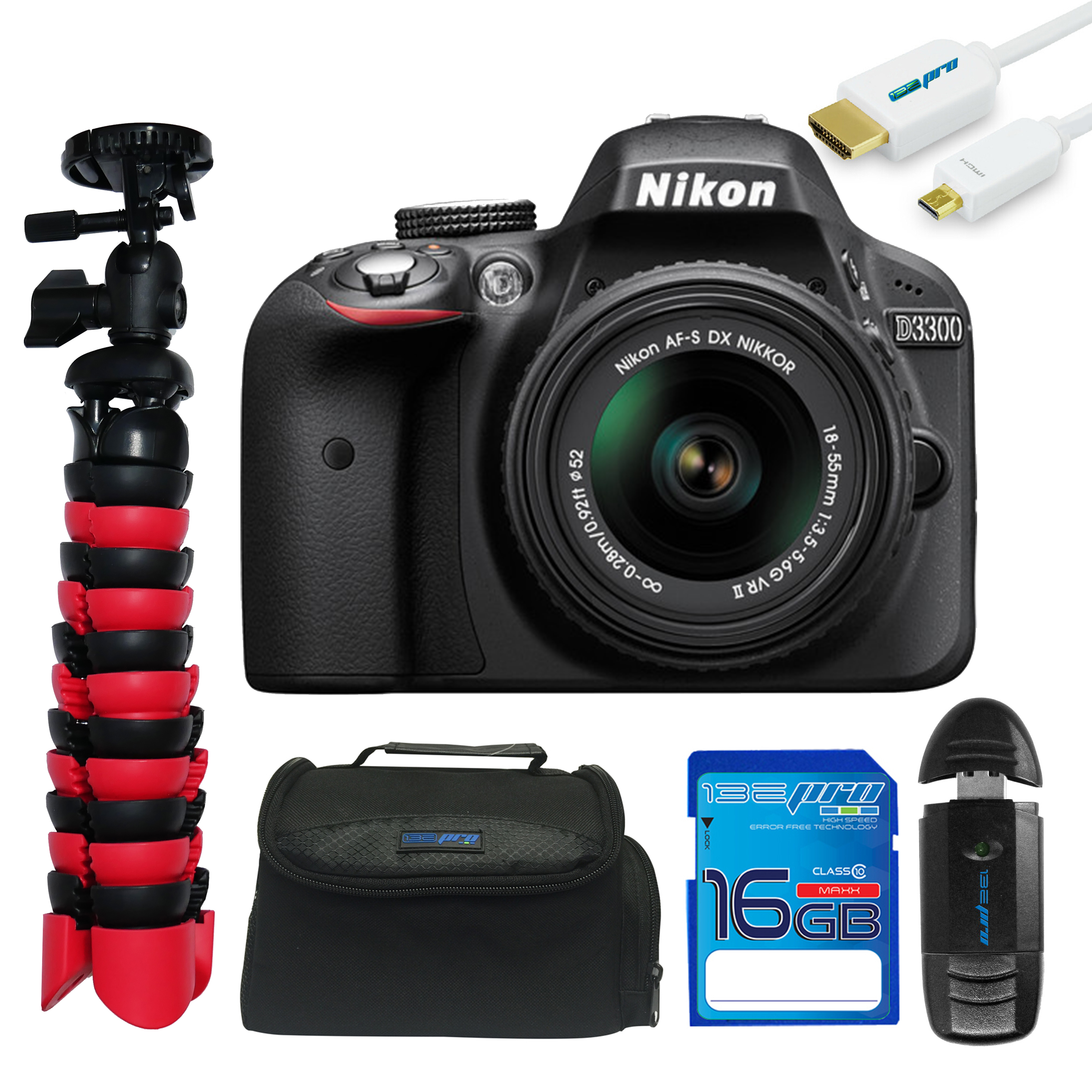 Nikon D3300 DSLR Camera with 18-55mm Lens + Pixi Essentials Kit