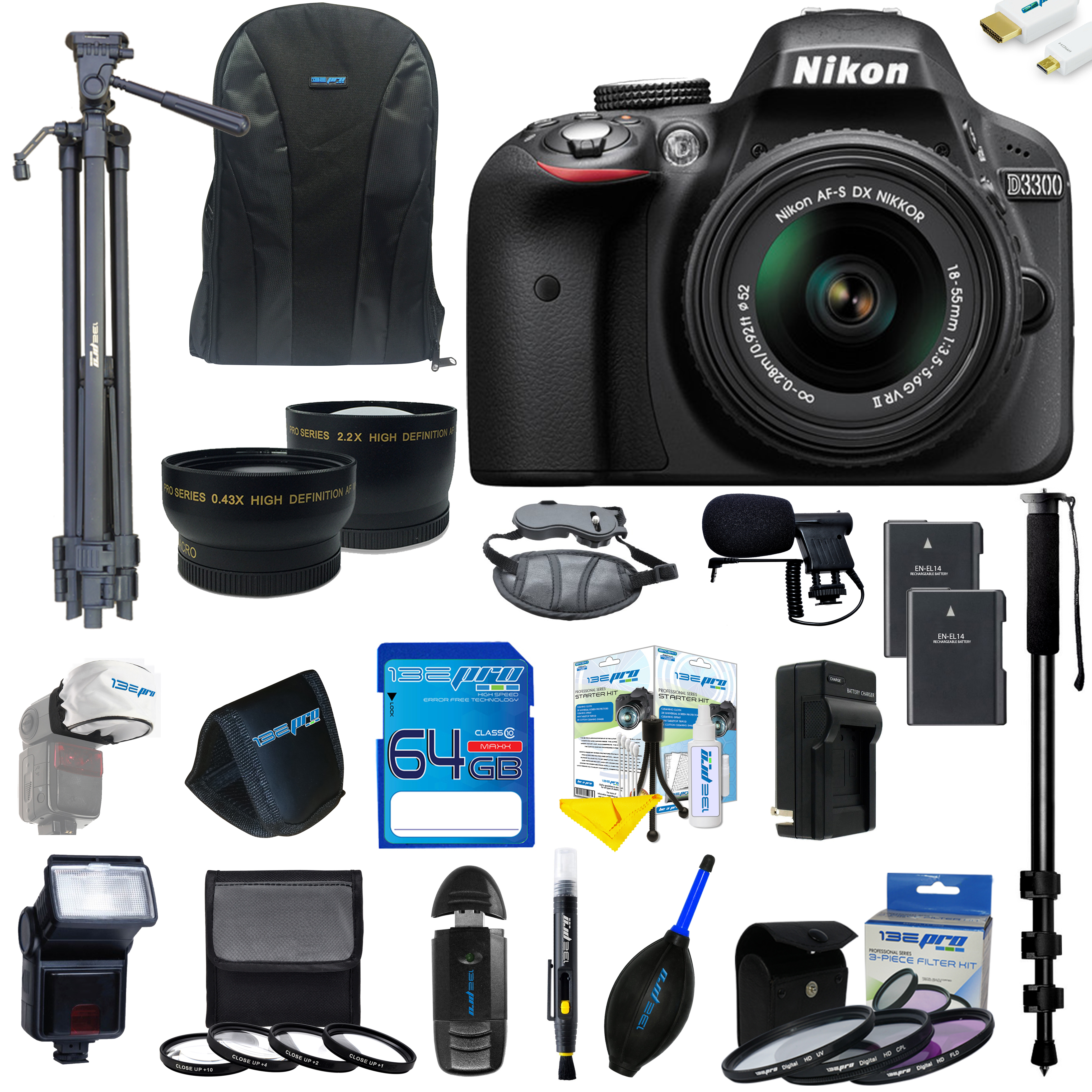 Nikon D3300 DSLR Camera with 18-55mm Lens + Pixi Ultimate Kit