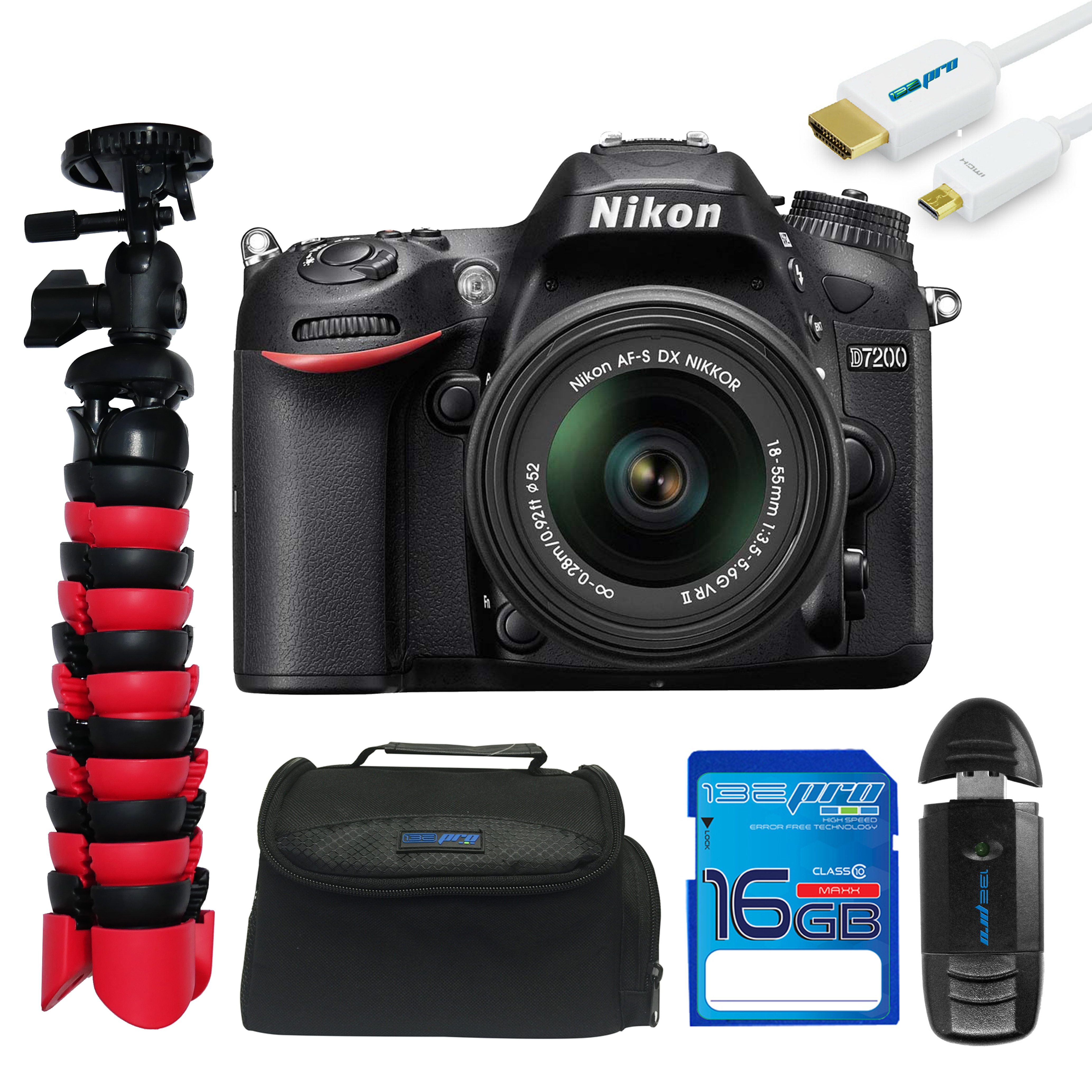 Nikon D7200 DSLR Camera with 18-55mm Lens + Pixi Essentials Kit