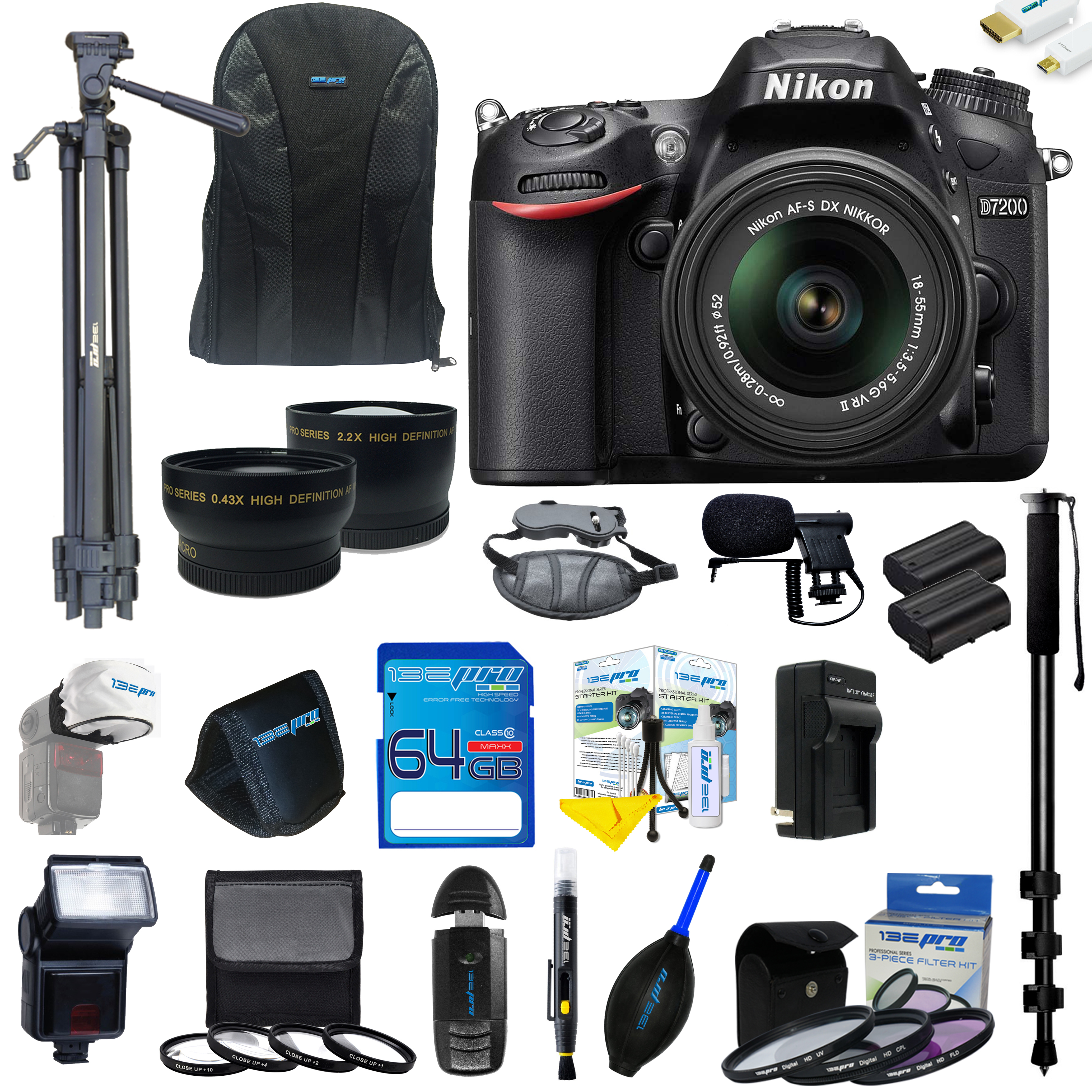 Nikon D7200 DSLR Camera with 18-55mm Lens + Pixi Ultimate Kit